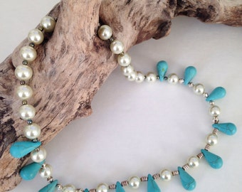 Teardrop turquoise  with ivory glass pearls