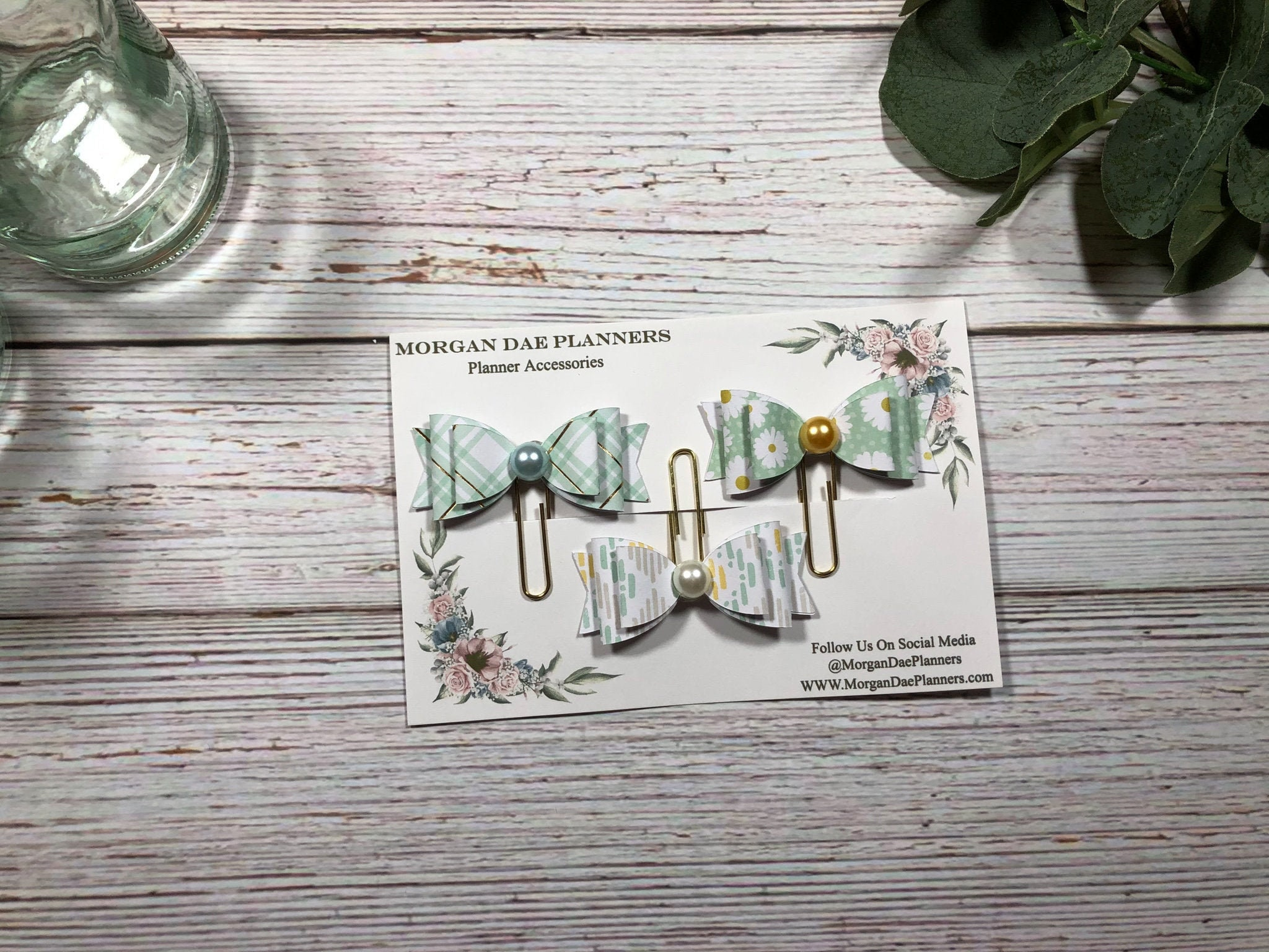 Planner Clips Set of 3 Paper Bow Pattern Gold Paper clip Planner Accessories