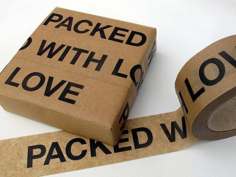 Sticky paper tape PACKED WITH LOVE 5.0 cm 50 meter image 0