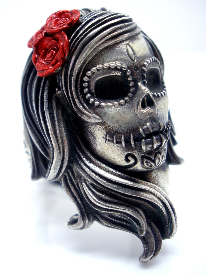 Sugar Skull Silver Ring Halloween Dia De Los Muertos Silver image 0