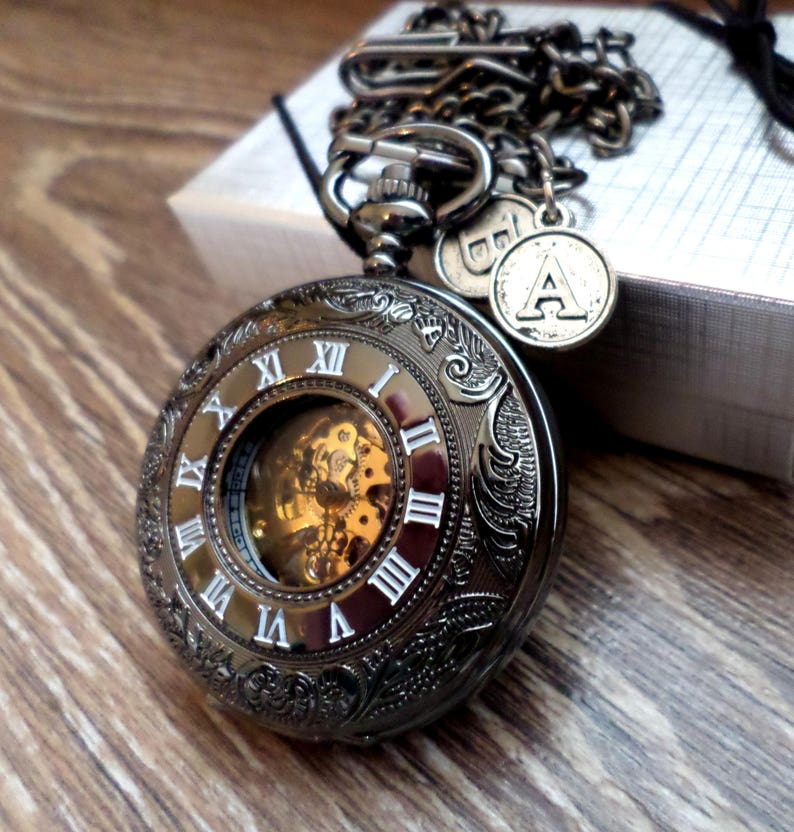 Black Pocket Watch Personalized Pocketwatch with Watch Chain Add 2 Initial Charms