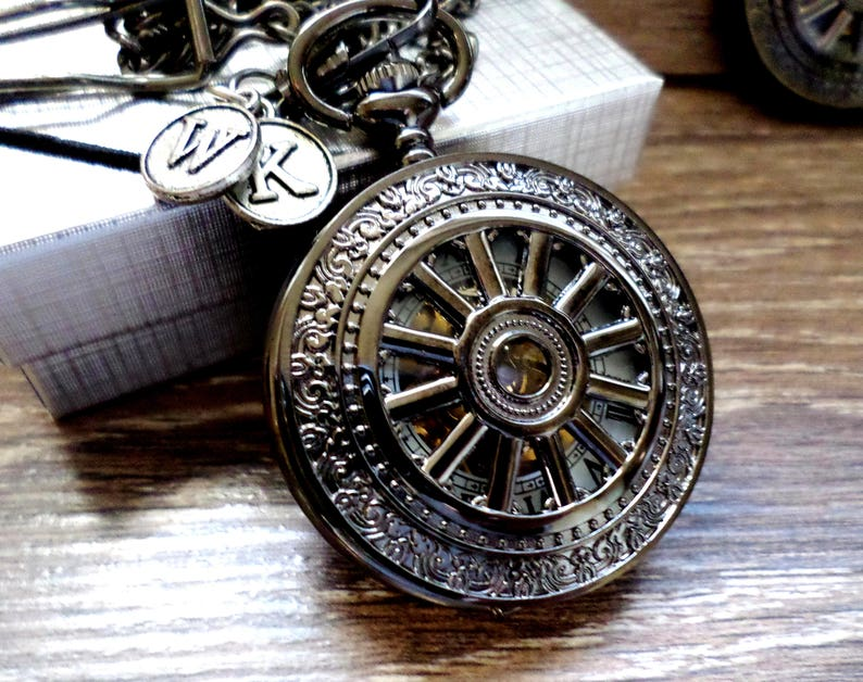 12f16e803 Black Pocket Watch and Chain Personalized Pocketwatch Mens   Etsy