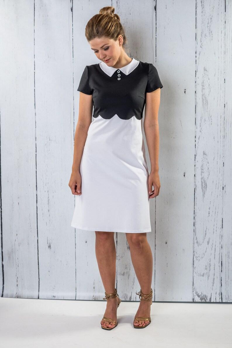 new concept 98cfe 39048 Kleid Damen- Mermaid - schwarzes Kleid, weißes Sommerkleid, Midi Kleid,  schwarz, weiß, knielang, Bubikragen, Vintage, casual, Weiberstyle