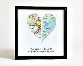 Personalized Framed Map Heart, Christmas Gift for Long Distance Dad, Father and Daughter Distance Gift, Long Distance Parents Christmas Gift