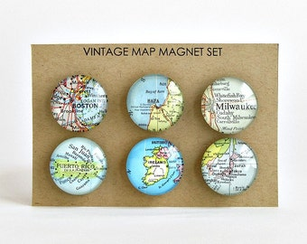 Personalized Map Magnets, Personalized Hostess Gift, Christmas Gifts for Coworker, Personalized Gift for Boss, Going Away Gift