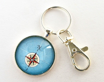 Compass Keychain / Compass Rose Keychain / Graduation Gifts for Men / College Graduation Gift for Him / Gifts for Teachers / Sailing Gift