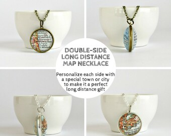 Long Distance Necklace / Long Distance Best Friend Necklace /  Best Friend Moving Away / Off to College Gift / Distance Gift / Map Gift MNL2