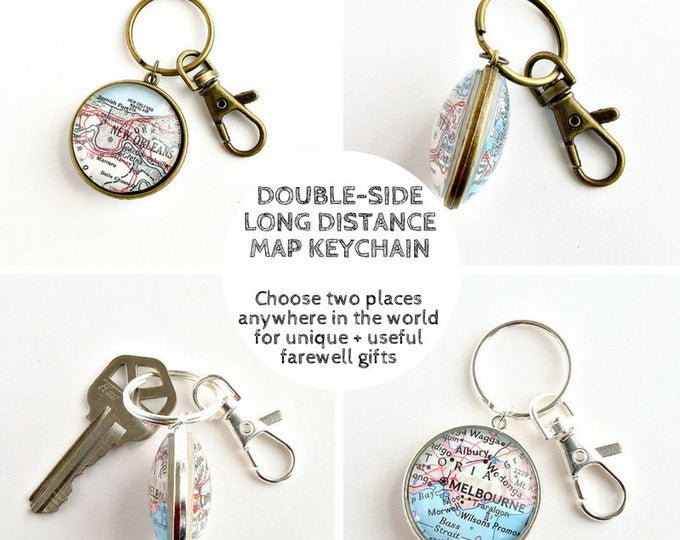 Featured listing image: Distance map keychain, Christmas gifts for foreign exchange students, Welcome gift for exchange student