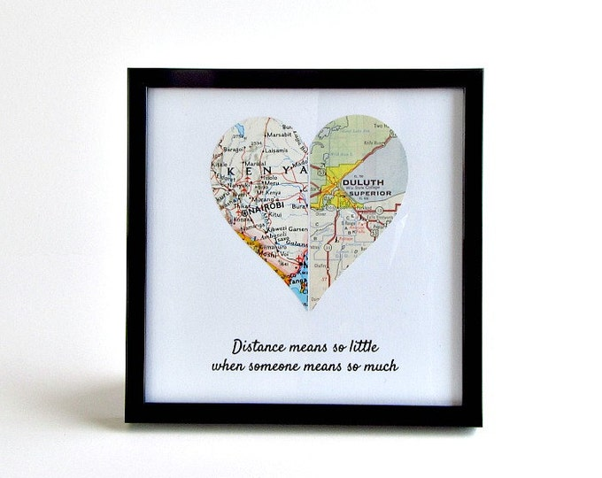 Featured listing image: Long distance friendship Christmas gift, Sentimental gifts for best friends, Personalized distance map heart