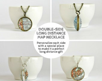 Valentine's Gift for Long Distance Girlfriend, Girlfriend Distance Gift, Long Distance Valentine's Gifts, Personalized Distance Map Necklace