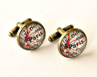 Personalized Map Cufflinks  / Wedding Cufflinks / Long Distance Boyfriend Gift / Long Distance Map / 1st Anniversary Gift for Him