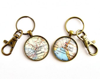 Personalized Map Key Chains, Christmas gifts for Long Distance Couples, Personalized Couples Gifts, His and His Gifts