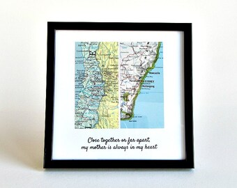 Long Distance Relationship Map, Personalized Distance Gift for Boyfriend, Distance Gift for Girlfriend, Long Distance Birthday Gift, LDR Map