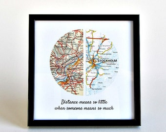 Long Distance Boyfriend Gift, Christmas Gift for Boyfriend, Personalized Long Distance Map Gift