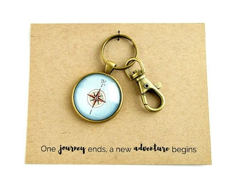 Compass Keychain, Retirement Gift for Teacher, Coworker Retirement Gifts, Retirement Gifts for Men, Employee Gifts, Wanderlust Compass