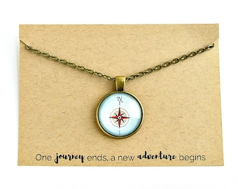 Compass Necklace / Inspirational Jewelry / Retirement Gift for Women / Teacher Retirement Gift / New Job Gift / Inspirational Necklace