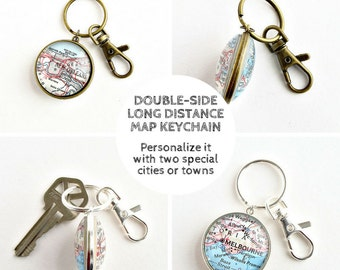 Long distance boyfriend keychain, Christmas gift for long distance boyfriend, Long distance couple gifts