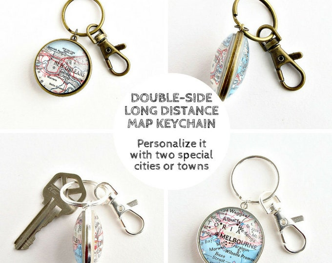 Featured listing image: Long distance boyfriend keychain, Christmas gift for long distance boyfriend, Long distance couple gifts