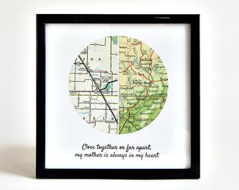 Custom Long Distance Map, Long Distance Mom Christmas Gift, Mother Son Distance Gift, Christmas Gift for Son Moving Away