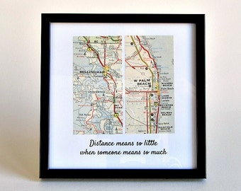 Long Distance Father's Day Gift, Long Distance Dad, Daughter to Father Gift, Son to Dad Gift, Framed Map Gift, Personalized Distance Map