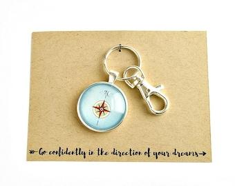 Compass Keychain, High School Graduation Gift, Graduation Gift for Brother, Graduation Gifts for Friends, Going Away Gift, Wanderlust Gifts