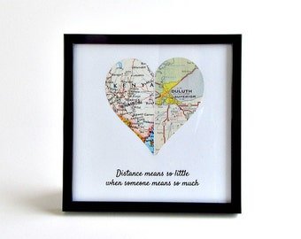 Valentine's Day Gift for Girlfriend, LDR Anniversary Gifts, Boyfriend Birthday Gift, Long Distance Relationship, Personalized Distance Map