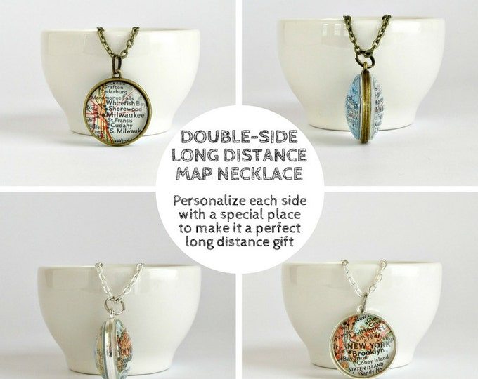 Featured listing image: Valentine's Gift for Long Distance Girlfriend, Girlfriend Distance Gift, Long Distance Valentine's Gifts, Personalized Distance Map Necklace