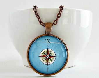 Compass Necklace / Compass Rose Necklace / Wanderlust Jewelry / Compass Jewelry for Her / Mentor Gift / Teacher Gifts
