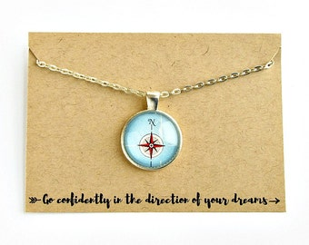 Compass Necklace / High School Graduation Gift for Her / College Graduation Gift / Go Confidently In The Direction of Your Dreams