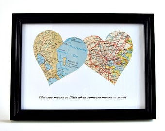 Long Distance Map Hearts / Birthday Gift for Best Friend / Long Distance Friendship / Best Friend Going Away Gift / Coworker Moving Away
