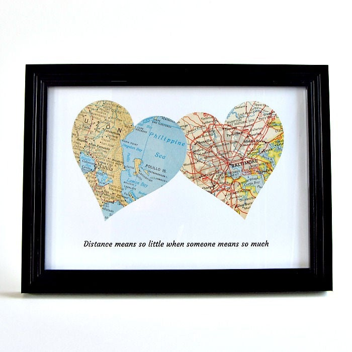 Long Distance Map Hearts Birthday Gift For Best Friend Friendship Christmas