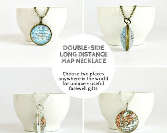 Personalized Gift for Exchange Student, Farewell Gift for Foreign Exchange Student, Going Away Gift, Moving Away, Double Sided Map Necklace