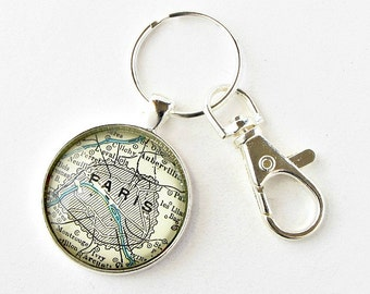 Personalized Map Keychain, Fathers Day Gift for Father in Law, for Husband, for Grandpa, Gift for Brother, Moving Away Gift, Going Away Gift