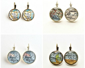 Personalized Map Earrings / Unique Christmas Gifts for Her / Gifts Under 30 / Personalized Gifts for Mom / Custom Map Jewelry