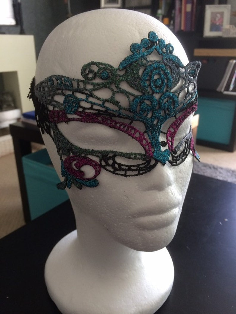 Glitter Irridescent White Venetian Masquerade Face Mask Blue /& Hot pink on Lace