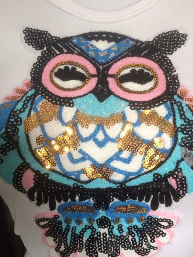 Cute owl bird blue pink in white crop t-shirt size xl  6-8 uk