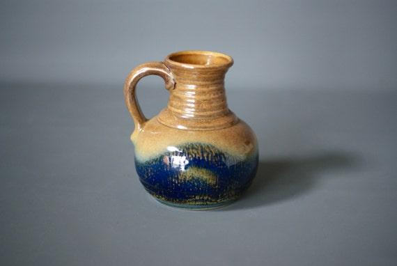 West German Pottery Vase Blue German Vase Blue Fat Lava Etsy