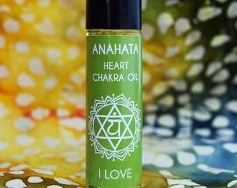 "Heart Chakra Oil ""I Love"" Anahata Heart Center 4th Green Chakra - Love Forgiveness Regret - Increase Self Love"
