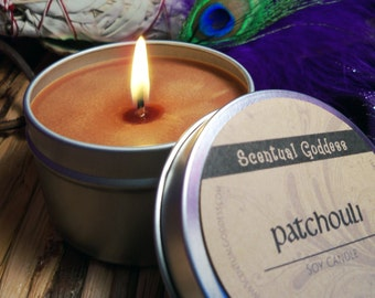 PATCHOULI CANDLE - Earthy Scented Soy Candle - Create a Zen Space for Meditation, Patchouli Scent, Hippie Candle, Patchouli Soy Candle