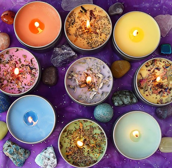 Self LoveCare Intention Soy Candle with Crystals Organic Hand Poured Candle. Dried Flowers and Sage