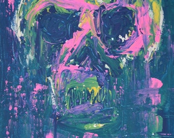 Original Abstract Painting for Sale, Neon Art Sale,Skull,Pink,Blue,Online Gallery,Buy Paintings,Modern Art for Sale,Bright Painting For Sale