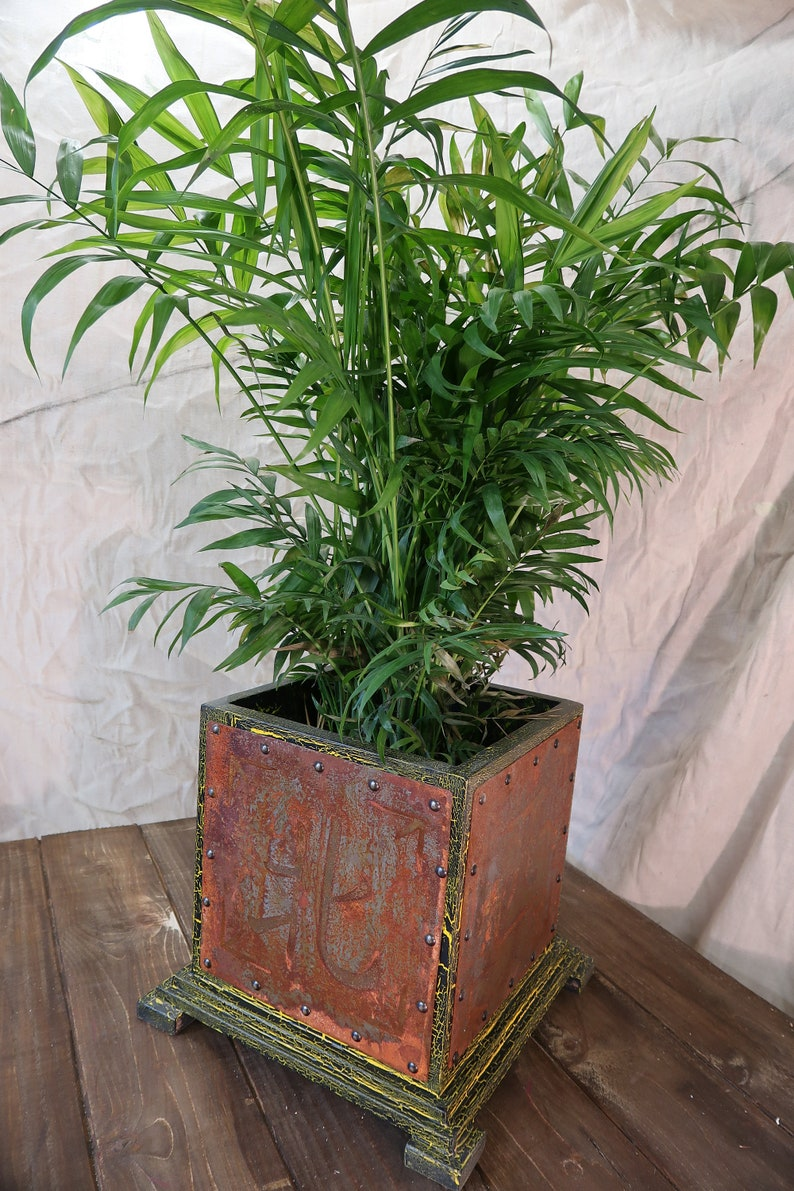 Wooden Planter Indoors Feng Shui Rusted Metal Classic Etsy
