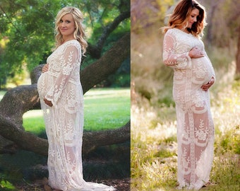 5d578a821450d Maternity Lace Dress Long White Photography Photoshoot Pregnancy Photo Shoot  Wedding Baby Shower Maxi Dress
