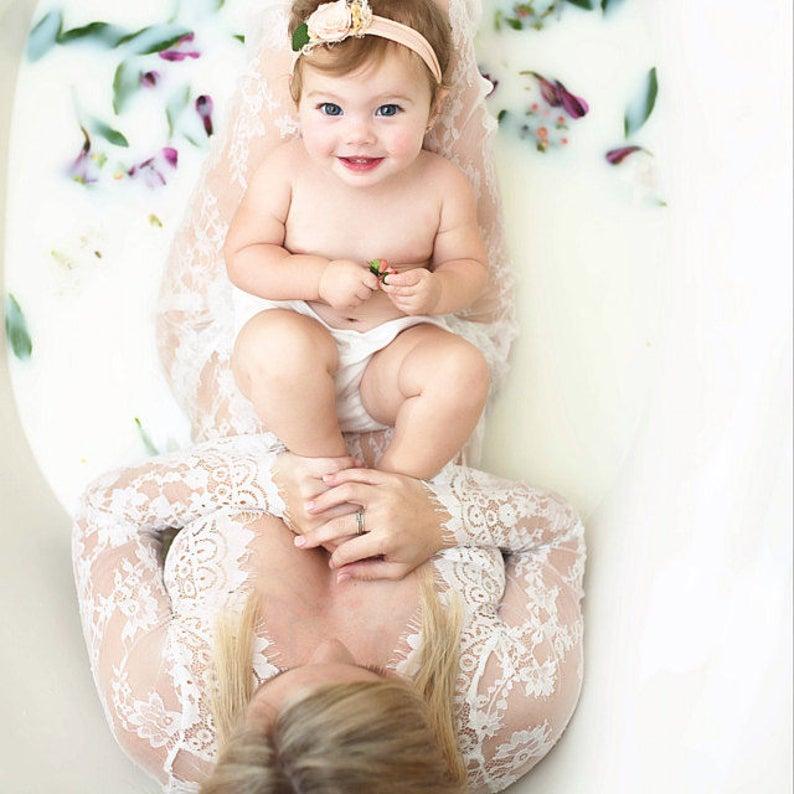 498e3e0d7125 Maternity Pregnancy White Lace Dress Milk Bath Dress For Photo   Etsy