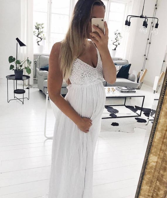 White Backless Maxi Dresses Maternity