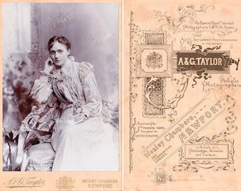 BEAUTIFUL YOUNG WOMAN A&G Taylor Vintage Printable Cabinet Card Ephemera Victorian Edwardian Antique Photograph Digital Download 300dpi Jpeg