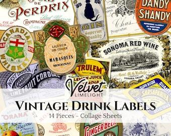 VINTAGE DRINK LABELS 14 Pieces, Printable Ephemera, Wine Whiskey Champagne Gin, Antique Collage Sheets, Digital Download 300dpi Jpeg + Png