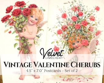 VINTAGE VALENTINE CHERUB Postcards, Printable Ephemera, Antique Romantic Love Greeting Cards, Clipart Images, Digital Download 300dpi Jpeg