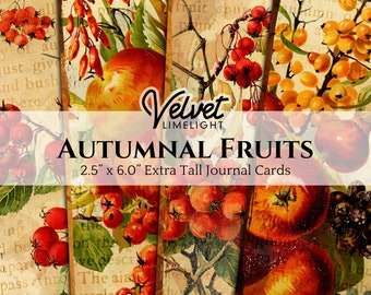AUTUMNAL FRUITS Extra Tall Journal Cards, Digital Download, Fall Seasonal Printable Ephemera, Vintage Tags for Junk Journaling, Scrapbooking