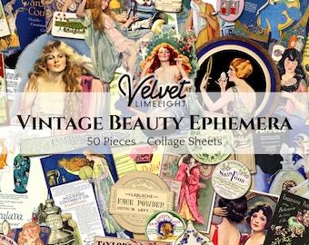 VINTAGE BEAUTY EPHEMERA Pack 50 Pieces Printable Cosmetics Hair Makeup Perfume Ephemera Antique Collage Sheets Digital Download 300dpi Jpeg